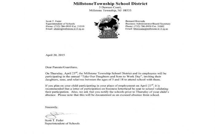 letter from millstone superintendent scott feder take your child to