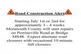 CONSTRUCTION ALERT: Millstone Township