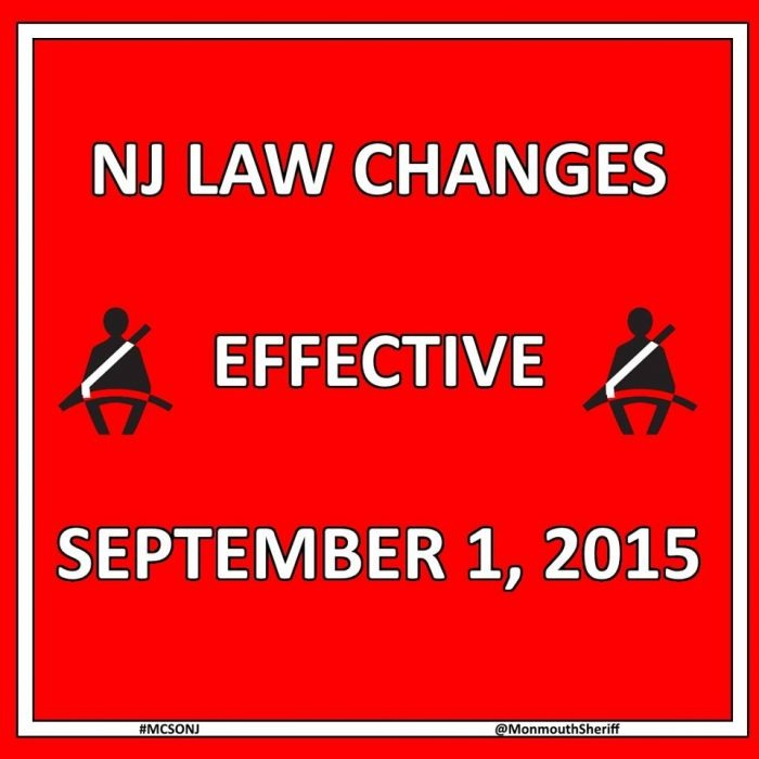 NJ Car Seat Law Any Child Under The Age Of 8 Years Old And A Height 57 Inches Shall Be Secured As Follows In Rear Motor Vehicle