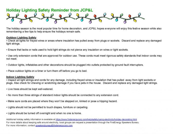 holiday lighting safety reminder from jcpl the source