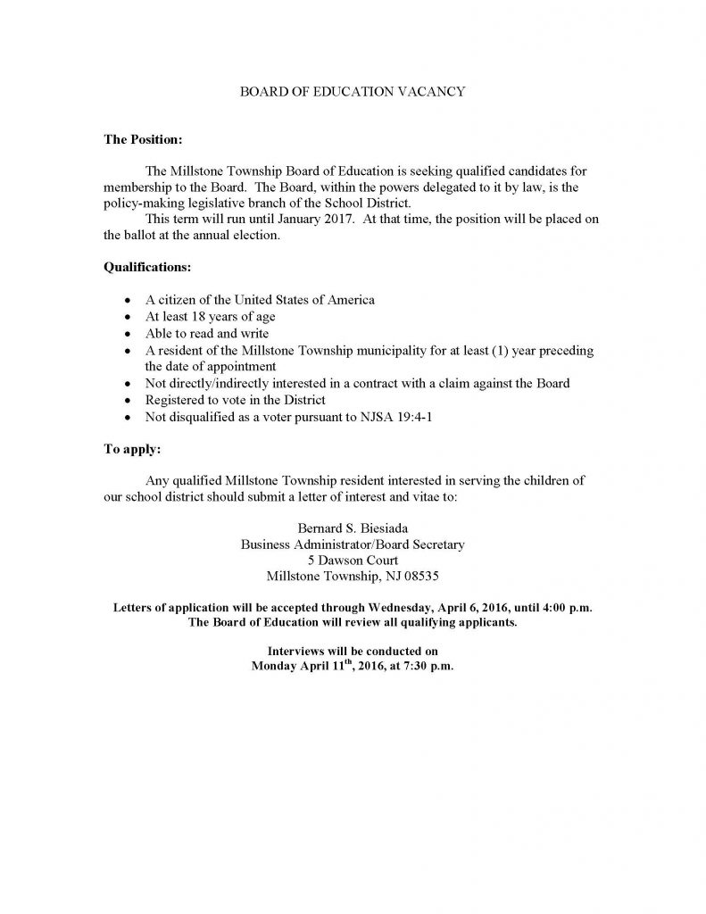 BOARD OF EDUCATION VACANCY 031116 (2) | The Source