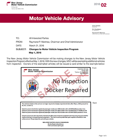 NJ Motor Vehicle Commission is Changing Inspection