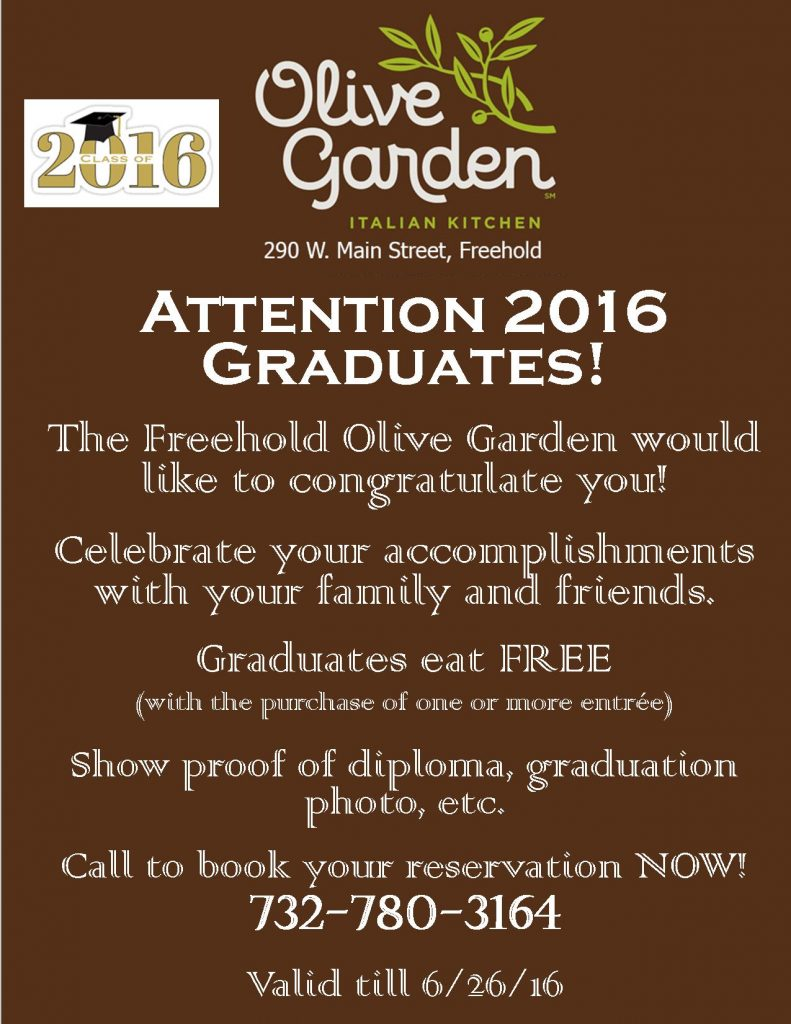 Celebrate your Graduate at The Freehold Olive Garden! HURRY Offer ...