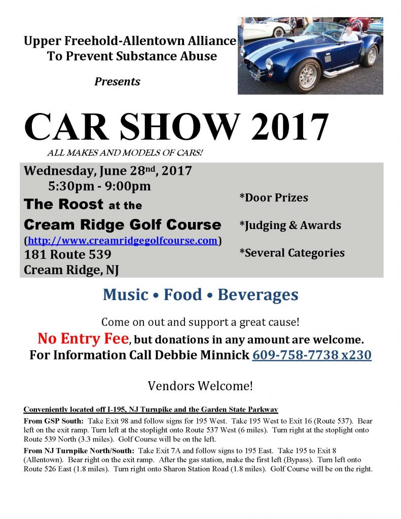 Attend the 2017 Car Show Hosted by the Upper Freehold Allentown