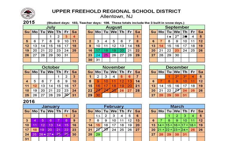 Uf School Calendar.Upper Freehold Approved 2015 2016 Calendar The Source